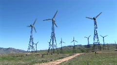 Wind turbines generating power at Tehachapi, California Stock Footage