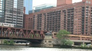 Stock Video Footage of Watertaxi view at Chicago river