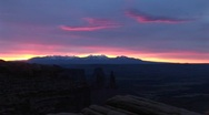 Stock Video Footage of La Sal Mountains in Canyonlands National Park at golden-hour