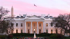 Medium shot of the White House at golden-hour Stock Footage