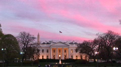 Zoom-in of the White House at golden-hour Stock Footage