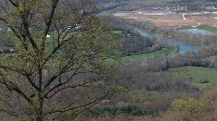 A river flowing through a valley in the Blue Ridge Mountains Stock Footage