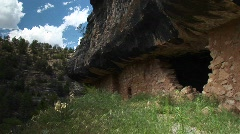 Medium shot of cliff dwellings in Walnut Canyon National Monument Stock Footage