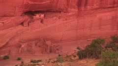 Long shot of cliff dwellings in Canyon De Chelly National Monument Stock Footage