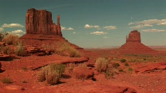 Long shot of sandstone formations in Monument Valley Tribal Park Stock Footage