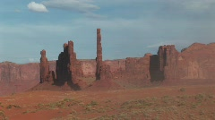 Totem Pole rock formations in Monument Valley Tribal Park in Arizona Stock Footage