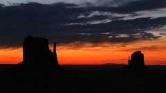Long shot of the Mittens in Monument Valley Tribal Park, Arizona Stock Footage