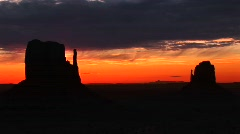 Mittens in Monument Valley, Arizona at golden-hour Stock Footage