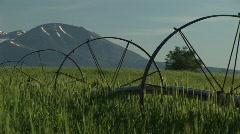 Sprinklers on Utah farmland and the La Sal Mountains Stock Footage
