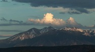 Long-shot of the La Sal Mountains from Arches National Park, Utah Stock Footage