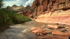 Freemont River running through Capitol Reef National Park in Utah Stock Footage