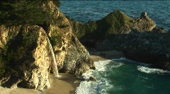 Waterfall and a secluded pool near the California coast - stock footage