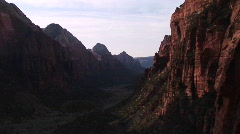 Medium-shot of Zion National Park from Angels Landing, Utah Stock Footage