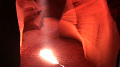 Sand floor of a crevasse in Antelope Canyon, Arizona Stock Footage