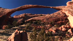 Medium-shot of the Landscape Arch in Arches National Park, Utah Stock Footage
