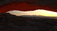 Jib up of Mesa Arch in Canyonlands National Park, Utah Stock Footage