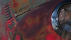 Close-up of front end of rusted old pickup truck Stock Footage