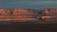 Lake Powell and  sandstone cliffs Stock Footage