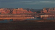 Stock Video Footage of Lake Powell and  sandstone cliffs