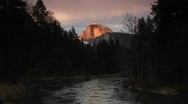 Stock Video Footage of Merced River framing radiant Half Dome of Yosemite-National-Park