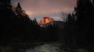 Stock Video Footage of Merced River with radiant Half Dome of Yosemite National Park