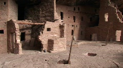 Ruins of Native American cliff dwellings in Mesa Verde National Park - stock footage
