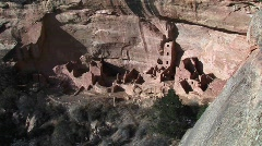 Ruins Native American cliff dwellings in Mesa Verde National Park - stock footage