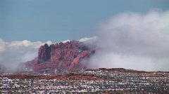 Clouds enveloping cliffs near Lake Powell, Arizona Stock Footage