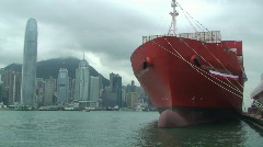 Container Ship In Hong Kong Harbor Stock Footage