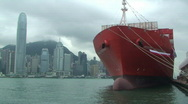 Stock Video Footage of Container Ship In Hong Kong Harbor