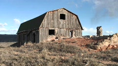 Medium-shot of a weathered, abandoned barn outside Moab, Utah Stock Footage