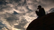 Silhouetted hiker in the Santa Barbara Mountains Stock Footage