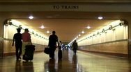 Time-lapse of crowds walking in an underground train station Stock Footage
