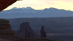 Snow-covered mountains in Canyonlands National Park Stock Footage