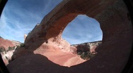 Stock Video Footage of A giant arch in the American Southwest