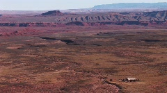 Birds-eye view over a vast Southwest desert Stock Footage