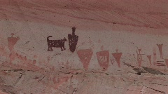 A slow zoom into mysterious petroglyphs in the Southwest desert of the USA Stock Footage