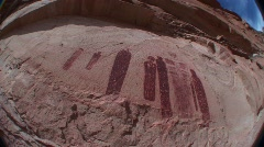 Mysterious ancient petroglyphs in Canyonlands National Park, Utah - stock footage