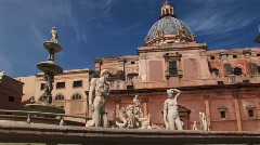 Many statues are on display outside a Roman Catholic Cathedral - stock footage