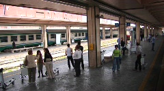 Passengers at a train station prepare to board in Palermo, Italy. Stock Footage
