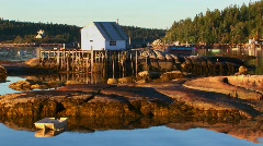 A small lobster village building in Stonington, Maine is on Stock Footage