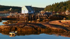 A lobster village building in Stonington, Maine is over water Stock Footage