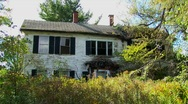 An old abandoned house overgrown with trees and brush. Stock Footage