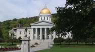 Stock Video Footage of A gold dome tops the capital building in Montpelier, Vermont.