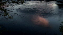 The reflective surface of dark water ripples slowly in rural Maine. Stock Footage