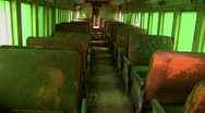 Passenger seats in an abandoned railcar. Stock Footage