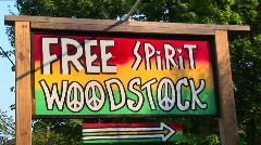 A multi-colored Woodstock sign in Woodstock, New York. Stock Footage