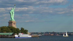 The Statue of Liberty in New York Harbor at day. Stock Footage