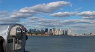 Clouds move over New York Harbor in New York City, NY. Stock Footage