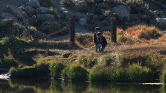 Young boys explore a lake near the Sierra Nevada Mountains. Stock Footage